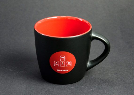 Kubek ceramiczny premium WSAD, czarny