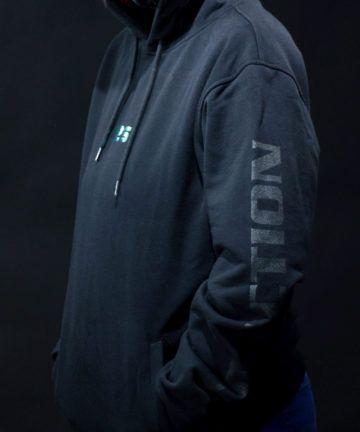 Bluza z kapturem i szarym napisem CD-Action na rękawie, czarna, rozmiar M